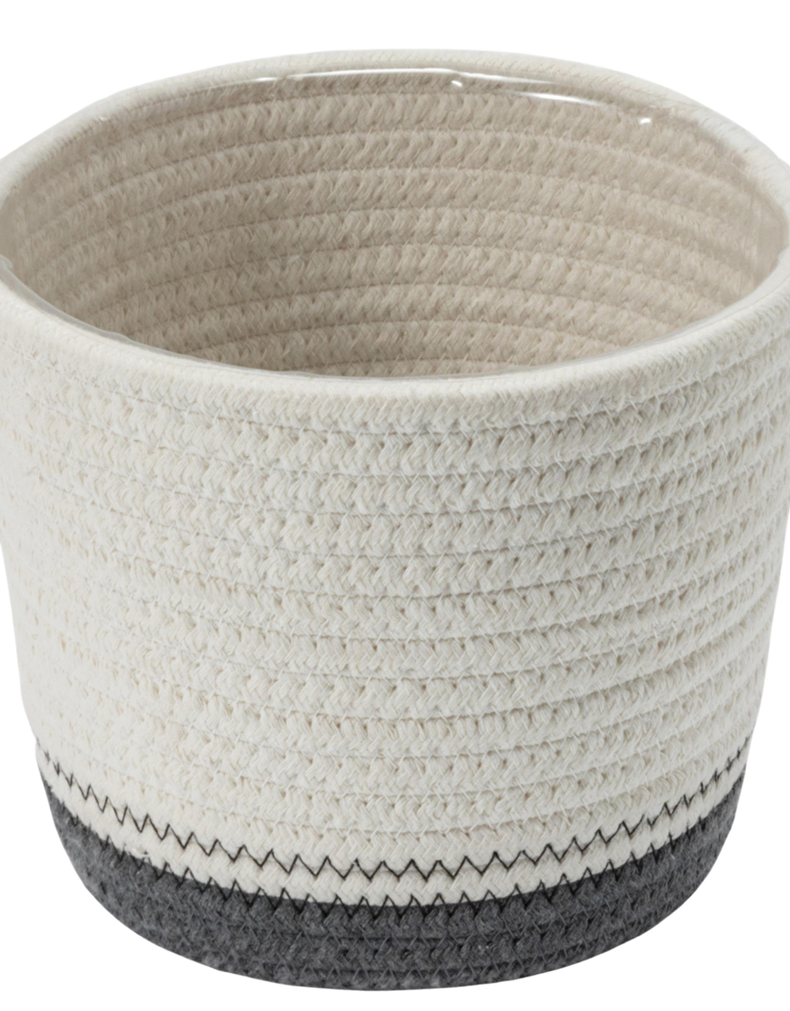 """Cathay Planter Cathay White/Grey Cotton Rope 5.25"""" D 08-2001"""