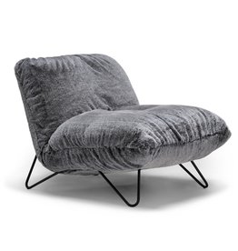 Stylus Boho Chair in Grey Faux Fur