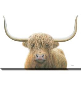 Streamline Art Highland Cow on White 30 x 45