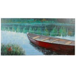 Art CJ Red Boat on Lake