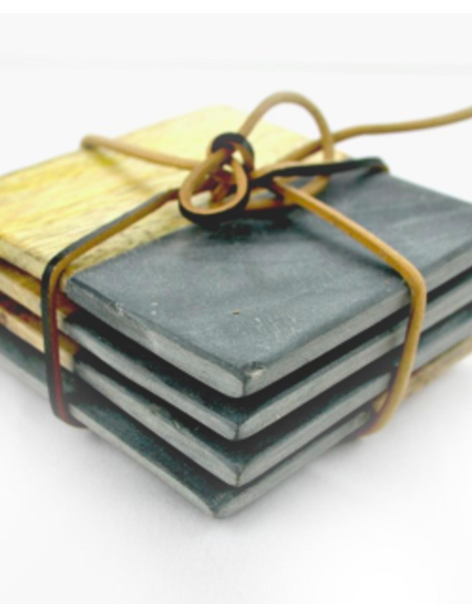 Nostalgia Coasters Nostalgia SQ Stone & Wood S/4