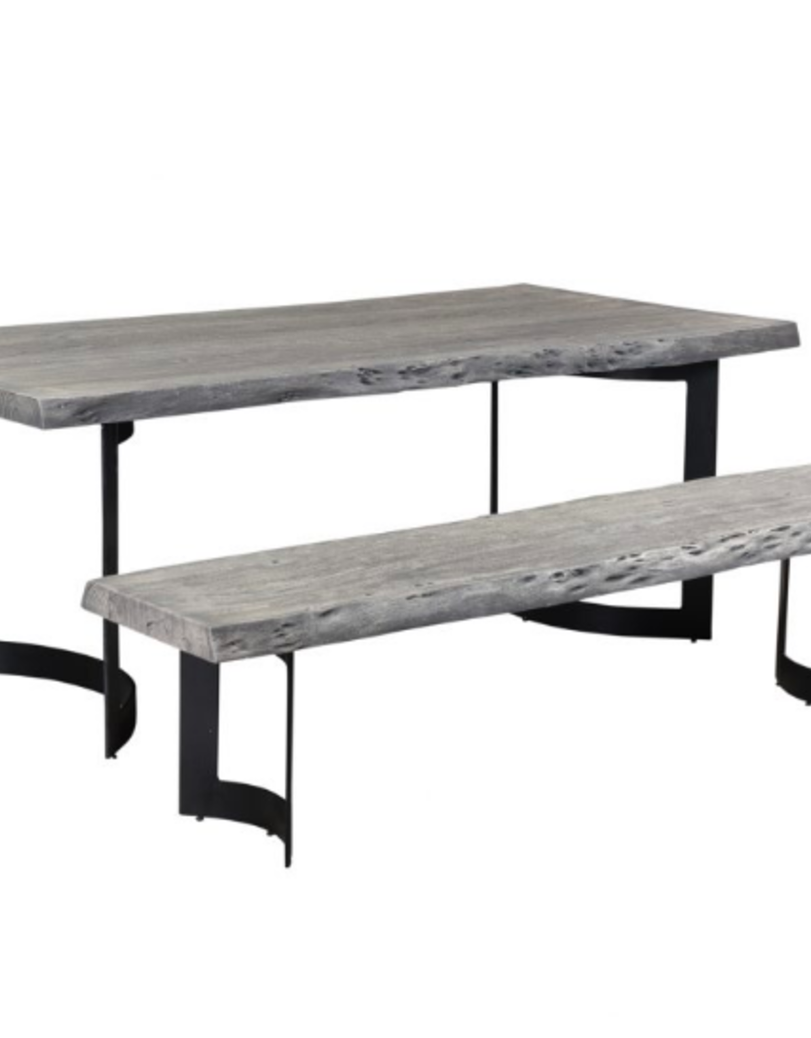 Moes Home Collection Moes Bent Bench Small Weathered Grey VE-1038-29