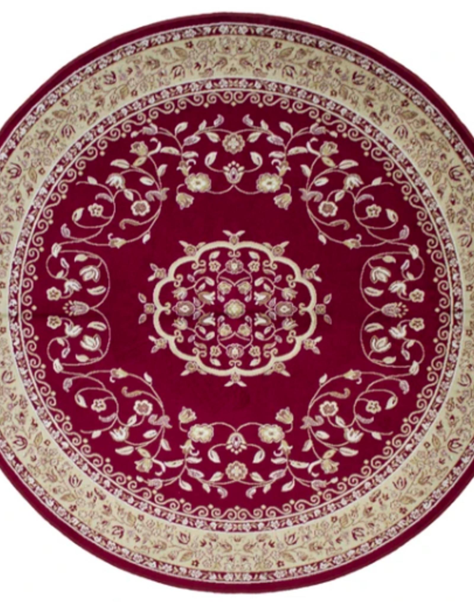 Rugs Avocado Artificial Silk 4'6 Round Sarook Red