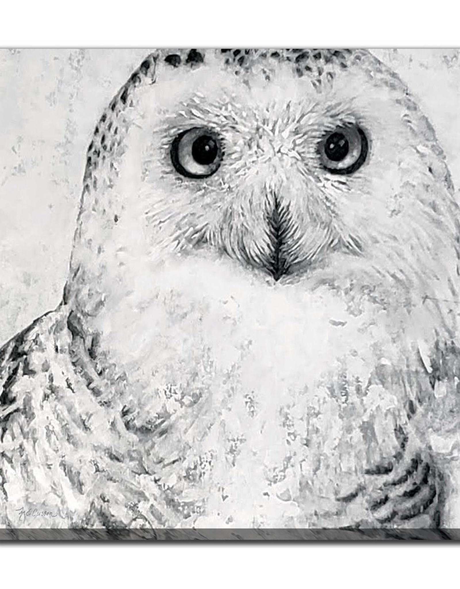 Streamline Art Portrait Of A Snowy Owl 38 x 38