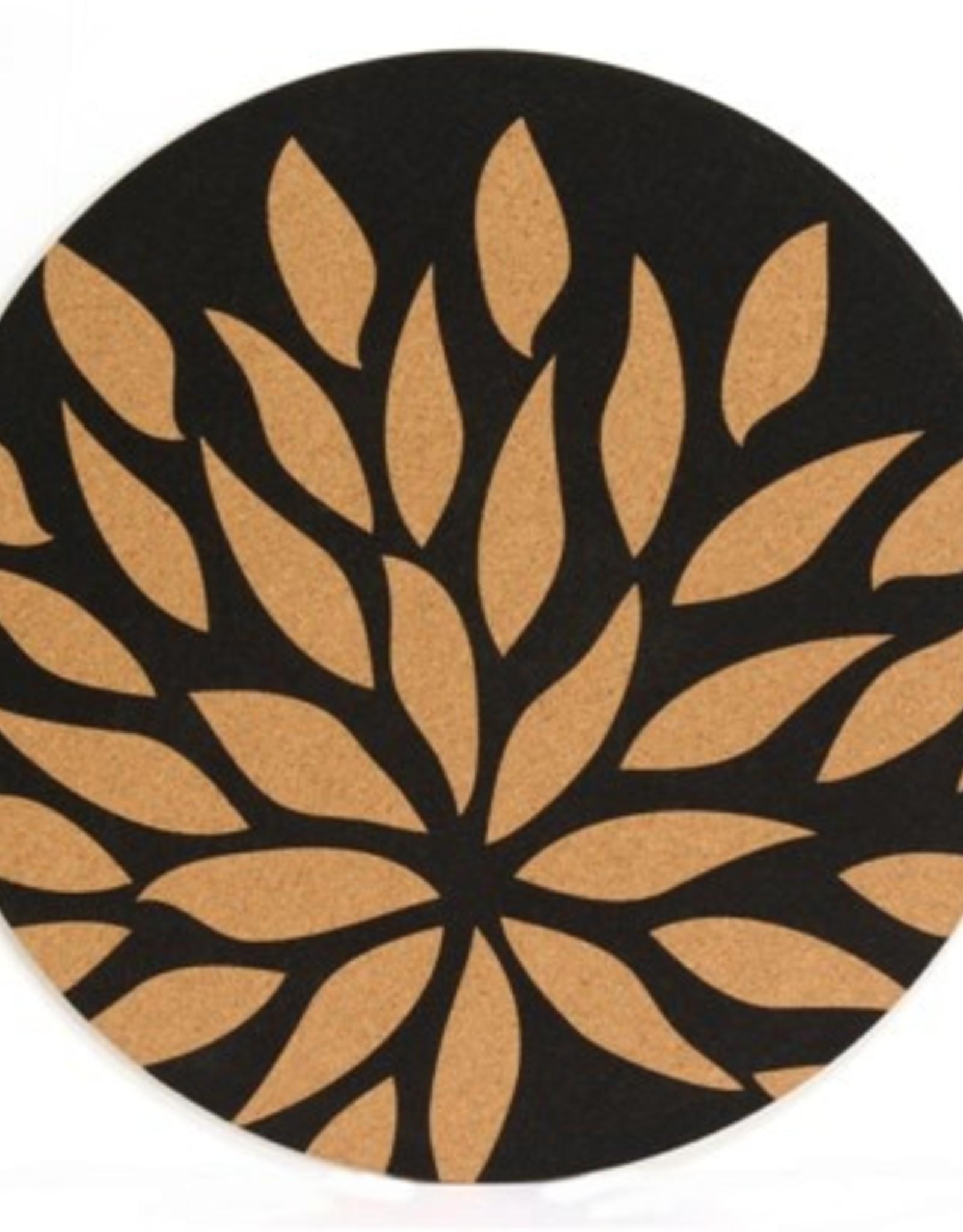 Placemat Harman Flower Cork Printed Round Black