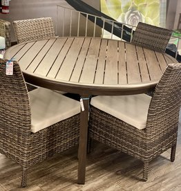 """Ratana Ratana Canbria 54"""" Round Dining Table Coral Gables 4 Side Chairs S/5"""