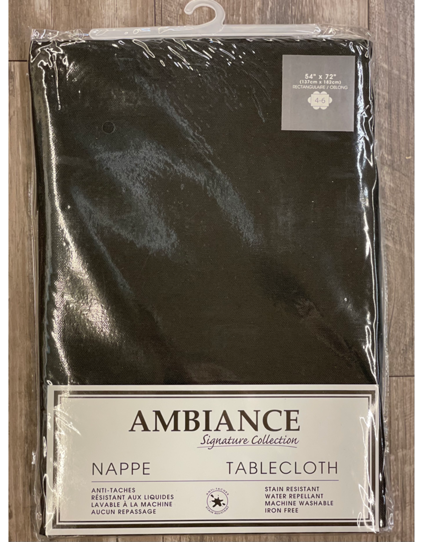 """Table Cloth Tex Styles Soft Touch Black  x 54"""" x 72"""""""
