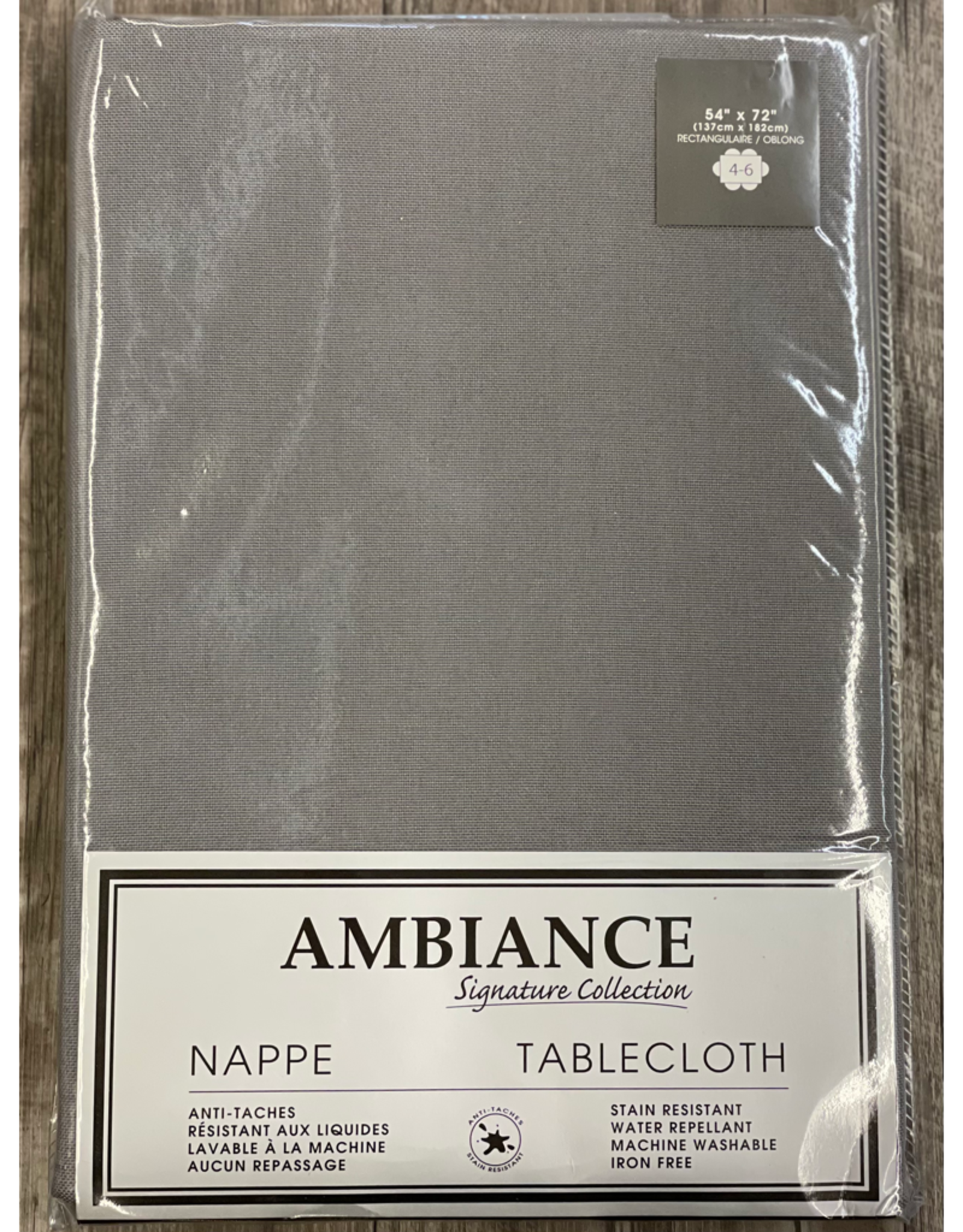 """Table Cloth Tex Styles Soft Touch Charcoal 54"""" x 72"""""""