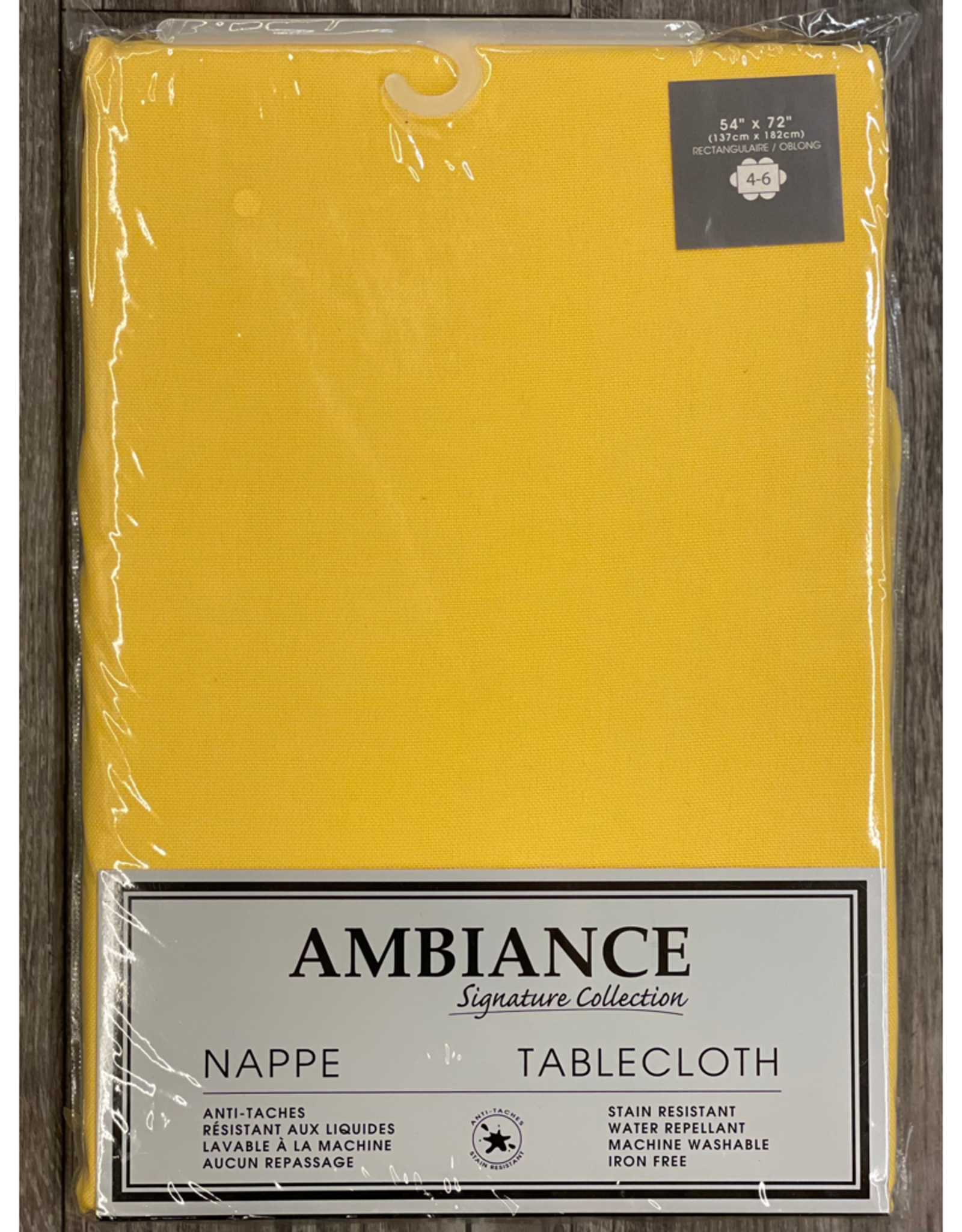"""Table Cloth Tex Styles Soft Touch Yellow 54"""" x 72"""""""
