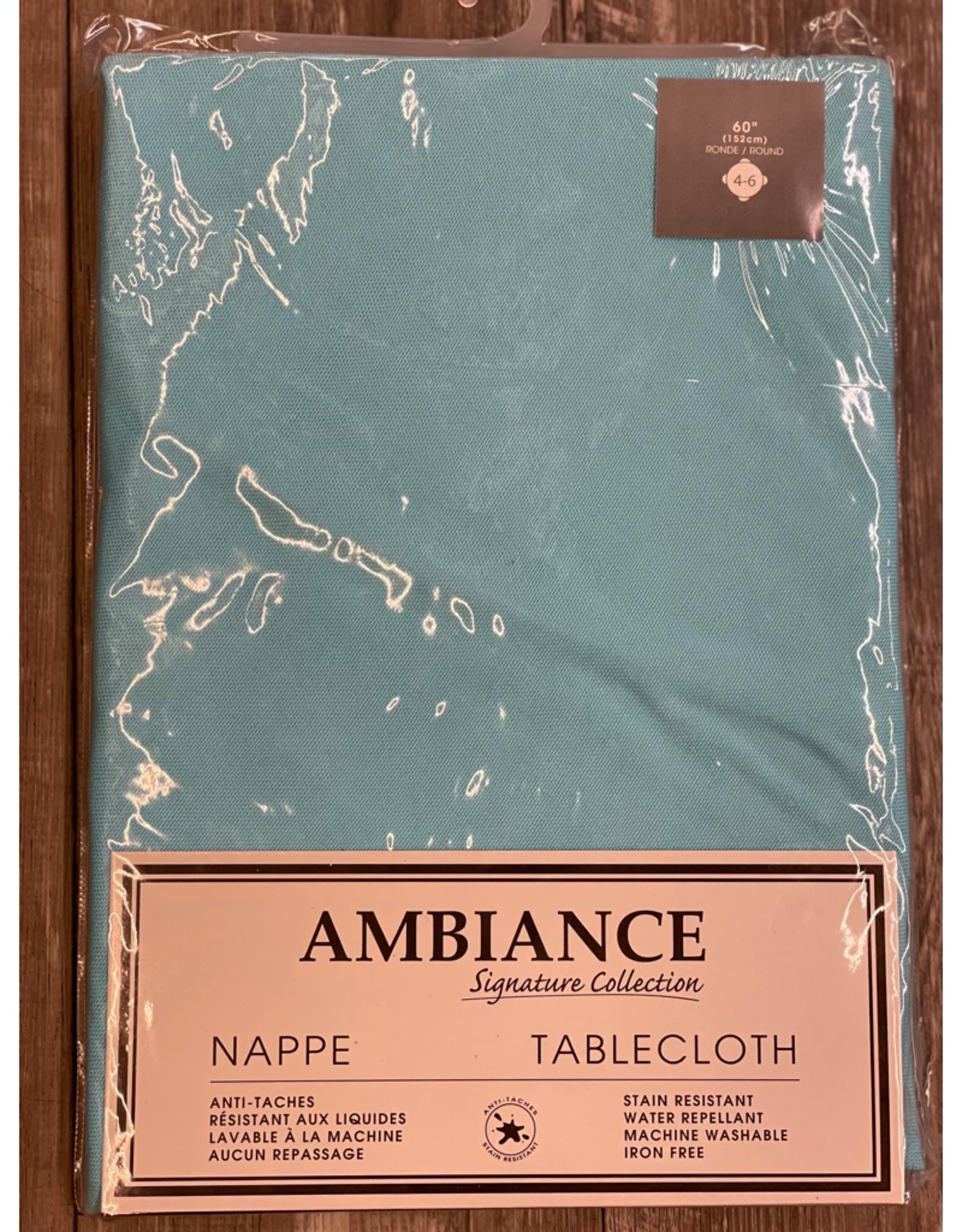 "Table Cloth Tex Styles Soft Touch Blue Aqua 60"" Round"