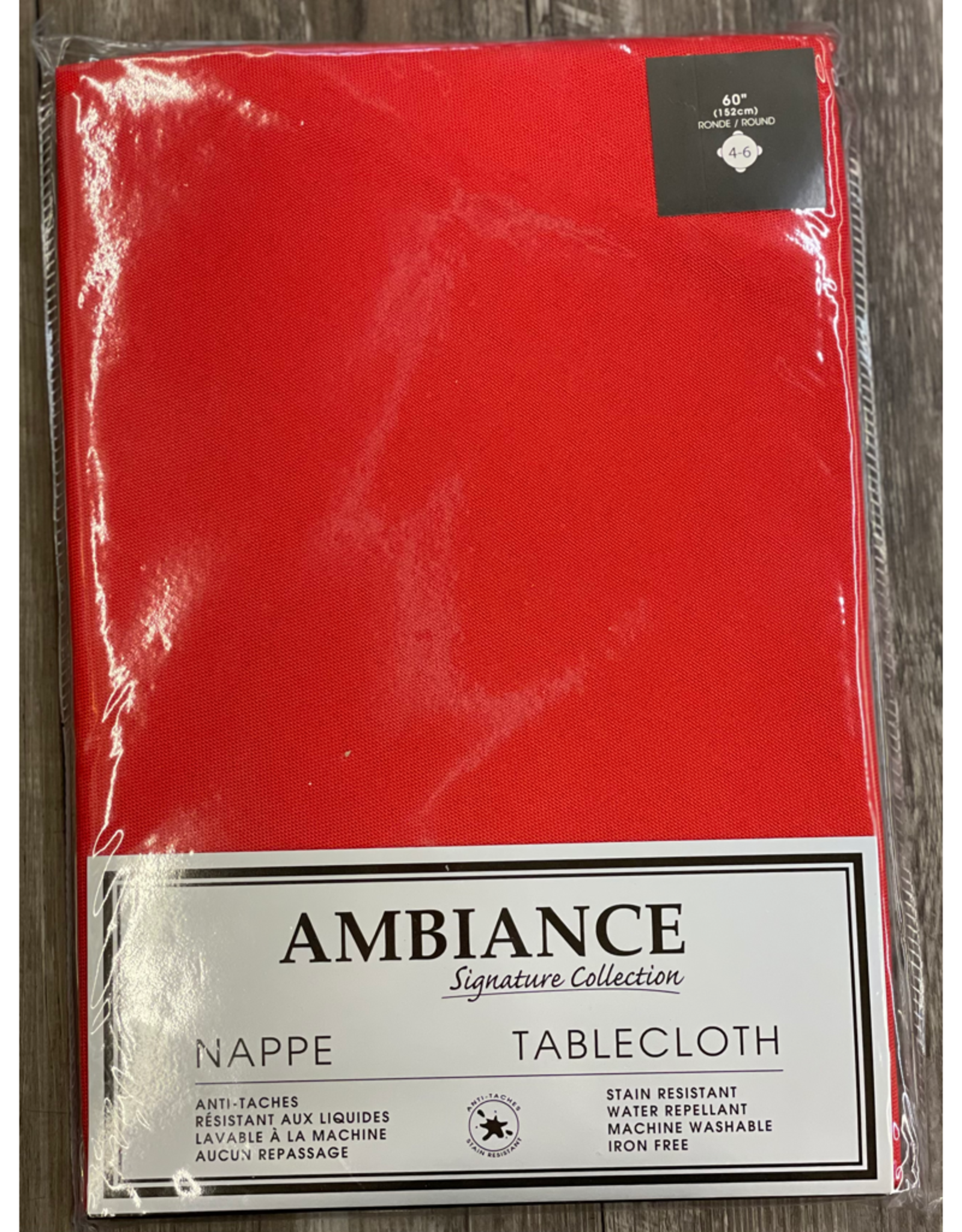 """Table Cloth Tex Styles Soft Touch Red 60"""" Round"""