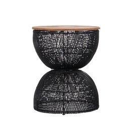 LH Imports LH D-Bodhi Wave Side Table Black Wood / Ratan DBA96-BLK