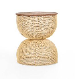 LH Imports LH D-Bodhi Wave Side Table Natural Wood / Ratan DBA96
