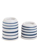 Candle Holder PC Amalfi Tealight Stripe White/Navy B7580004