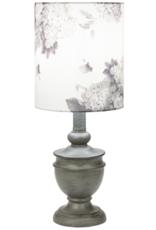Lamp Ganz Distressed Grey W/Floral Shade 40W CB174364