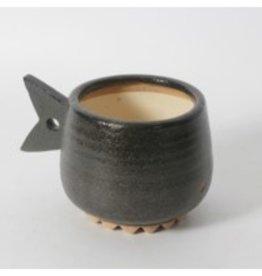 Planter CJ Black Fish Ceramic Flower Pot 2091DM2655BK