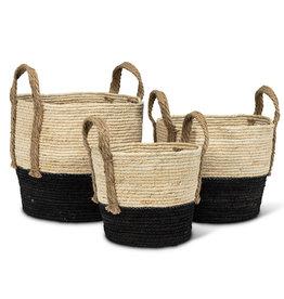 Baskets Abbott Round Jute Black / Tan Handles Medium