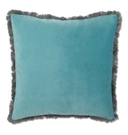 Cushions Abbott Velvet With Fringe Aqua 711