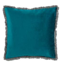 Cushions Abbott Velvet With Fringe Teal 712