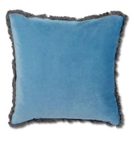 Cushions Abbott Velvet With Fringe Mid Blue 774