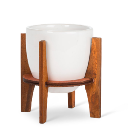 Planter Abbott Pot White With Wooden Stand Small