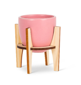 Planter Abbott Pink Pot With Wooden Stand Small