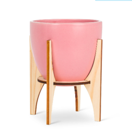 Planter Abbott Pink Pot With Wooden Stand Large
