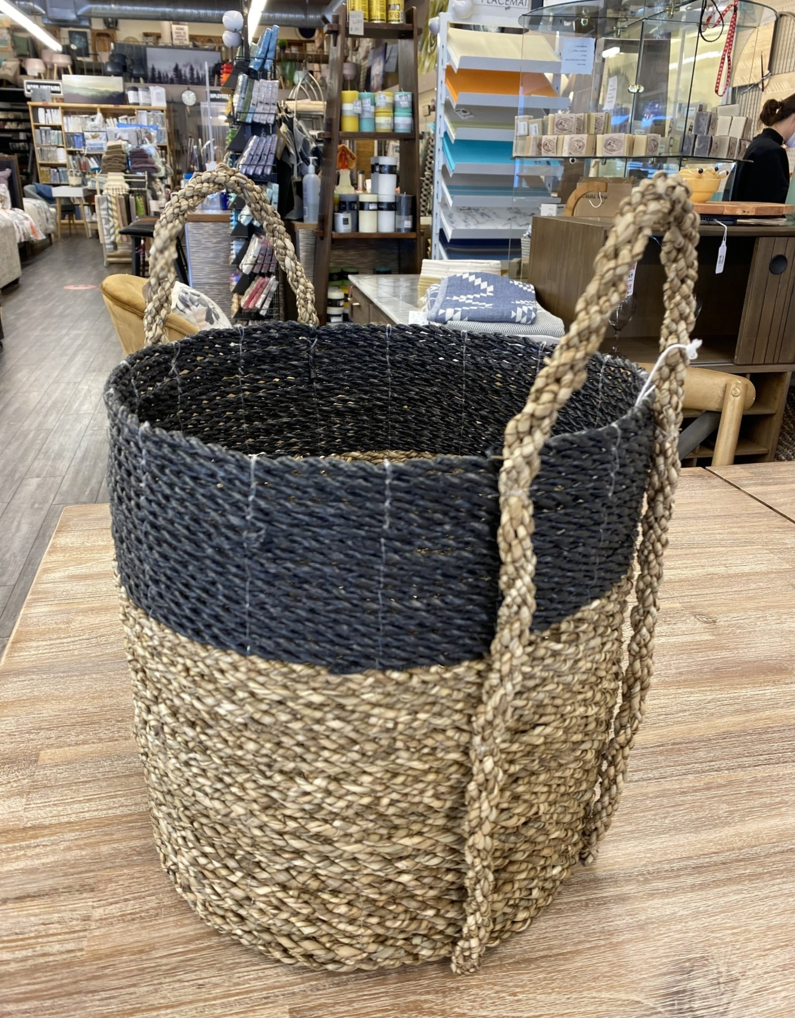 Pokoloko Basket Pokoloko Handled Laundry Natural/Black Small