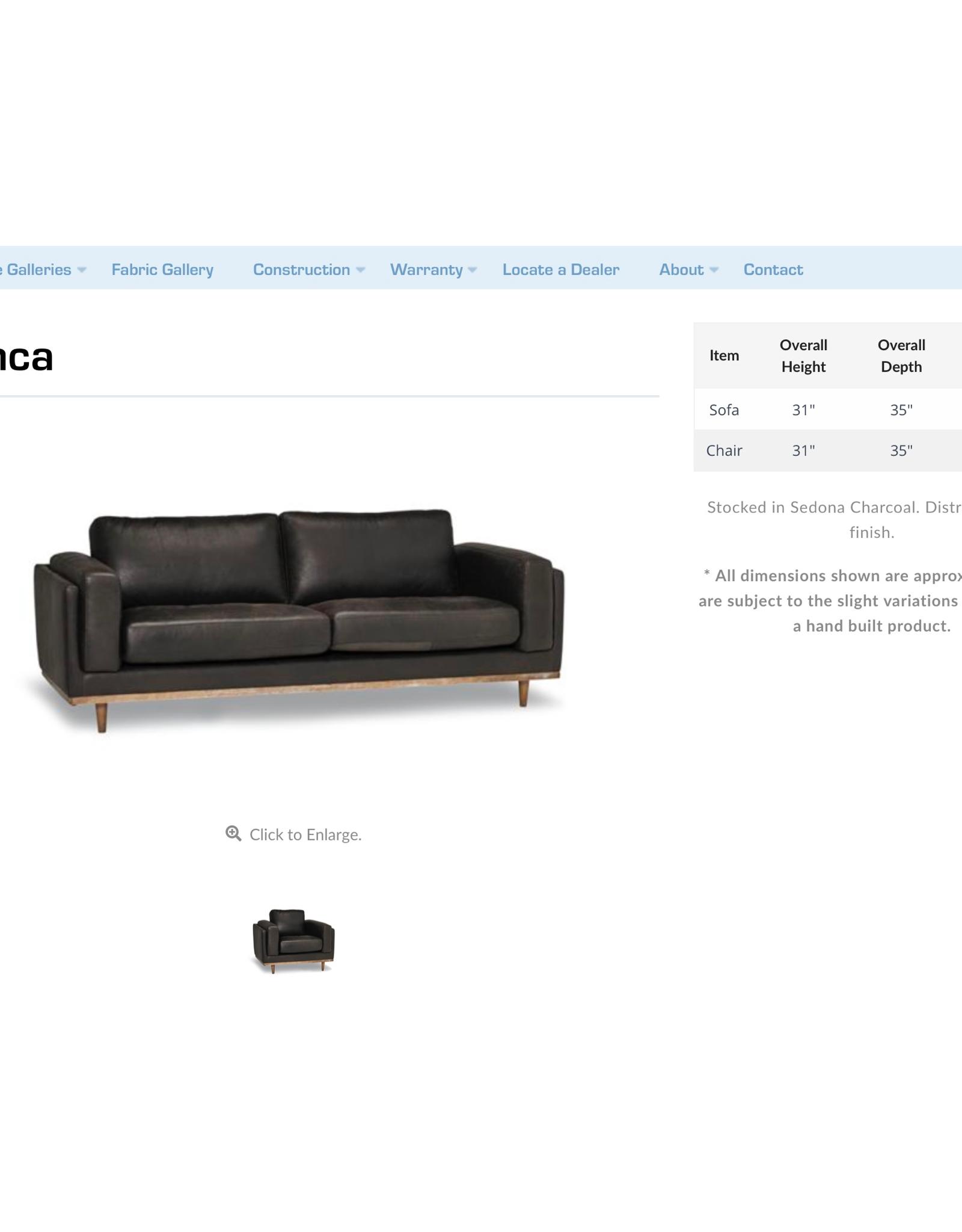 Stylus Byanca Leather Sofa Sedona Charcoal