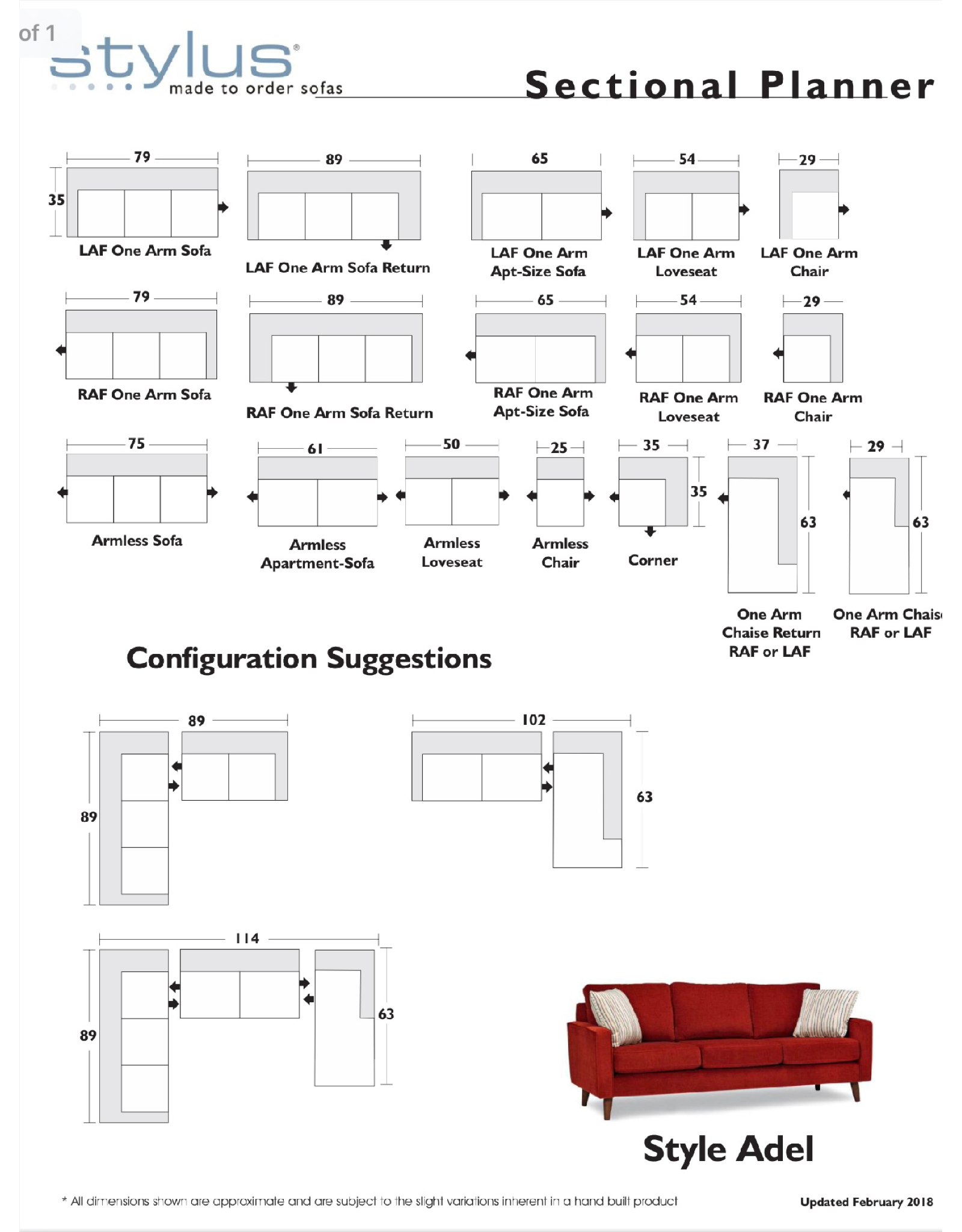 Stylus Adel Sectional Star Linen (15) Chaise Right
