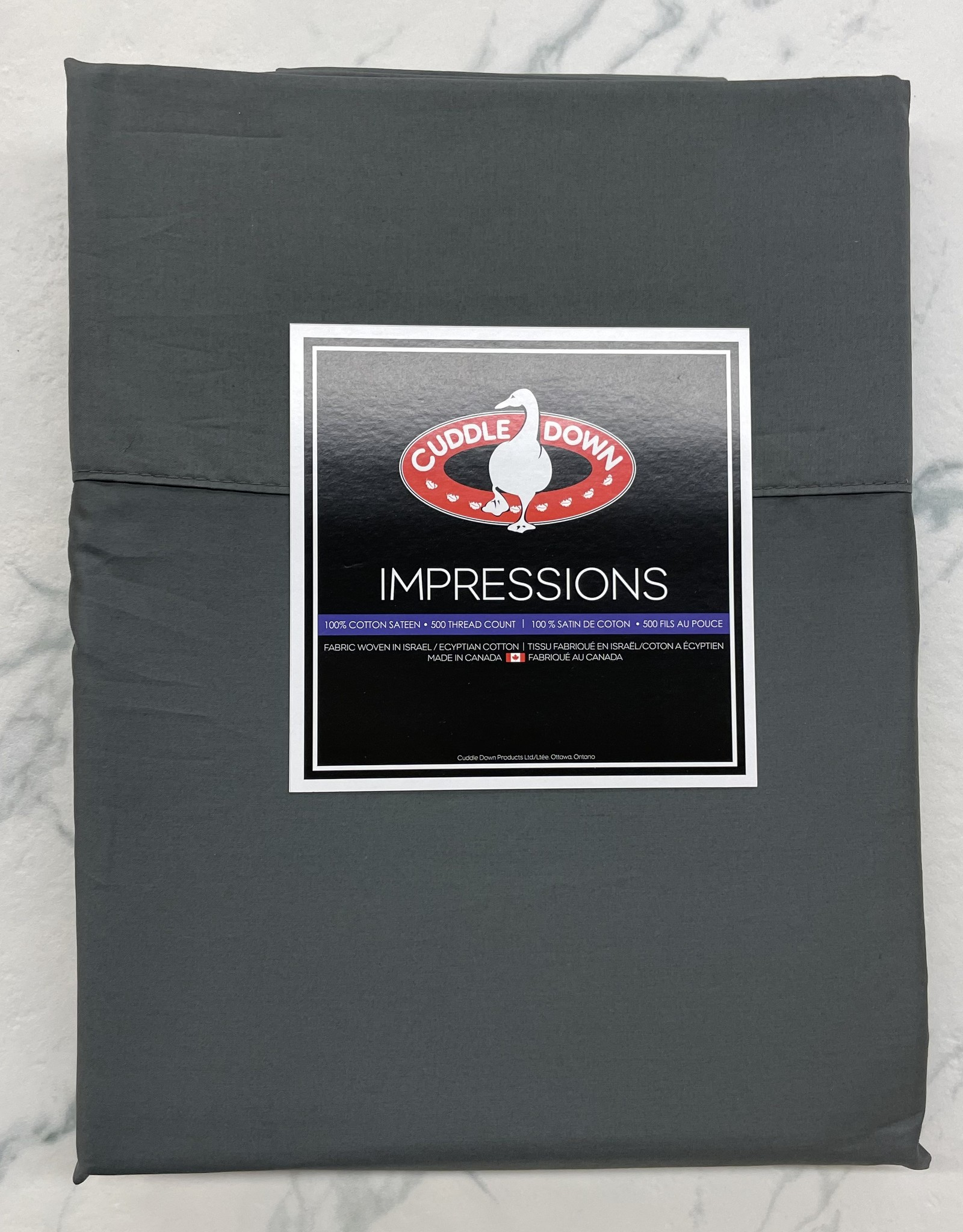 Cuddle Down Sheets Cuddledown Impressions 500 Queen Flat Charcoal ( 94 )