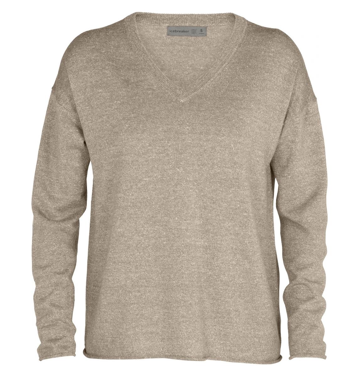 Women's Flaxen V-Neck  Sweater Tan-1