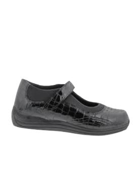 Drew Rose Black Croc Patent