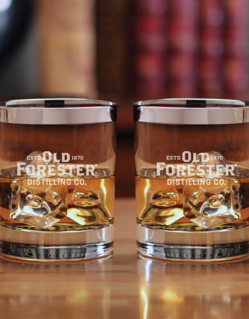 SILVER RIMMED OLD FORESTER ROCKS GLASSES (SET OF 2)