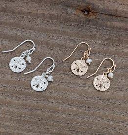Glee Small Sanddollar Earrings - White Pearl