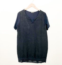 M Made in Italy Short Sleeve Linen Tunic