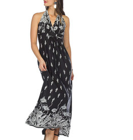Papillon Petal Print Grecian Maxi Dress