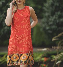 Papillon Orange Border Print Shift Dress