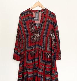 Apricot Tiered Scraf Print Dress