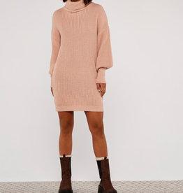 Apricot Cowl Neck Jumper Dress