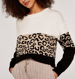 Apricot Animal Colour Block Sweater