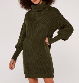 Apricot Cowl Neck Sweater Dress