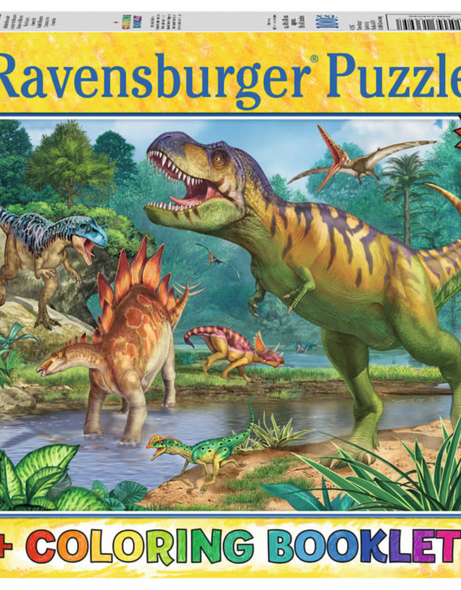Ravensburger 100pc+coloring book Dinosaurs
