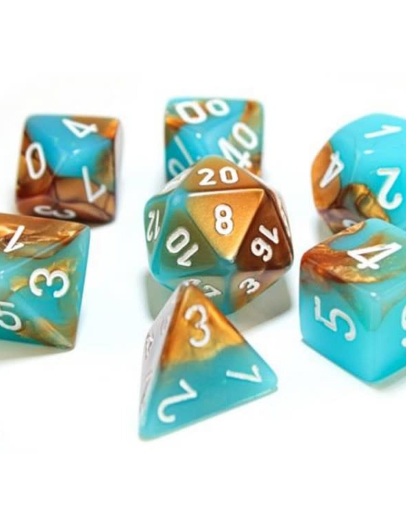 Chessex Lab Dice Luminary Gemini Poly 7 set: Copper & Turquoise w/ White