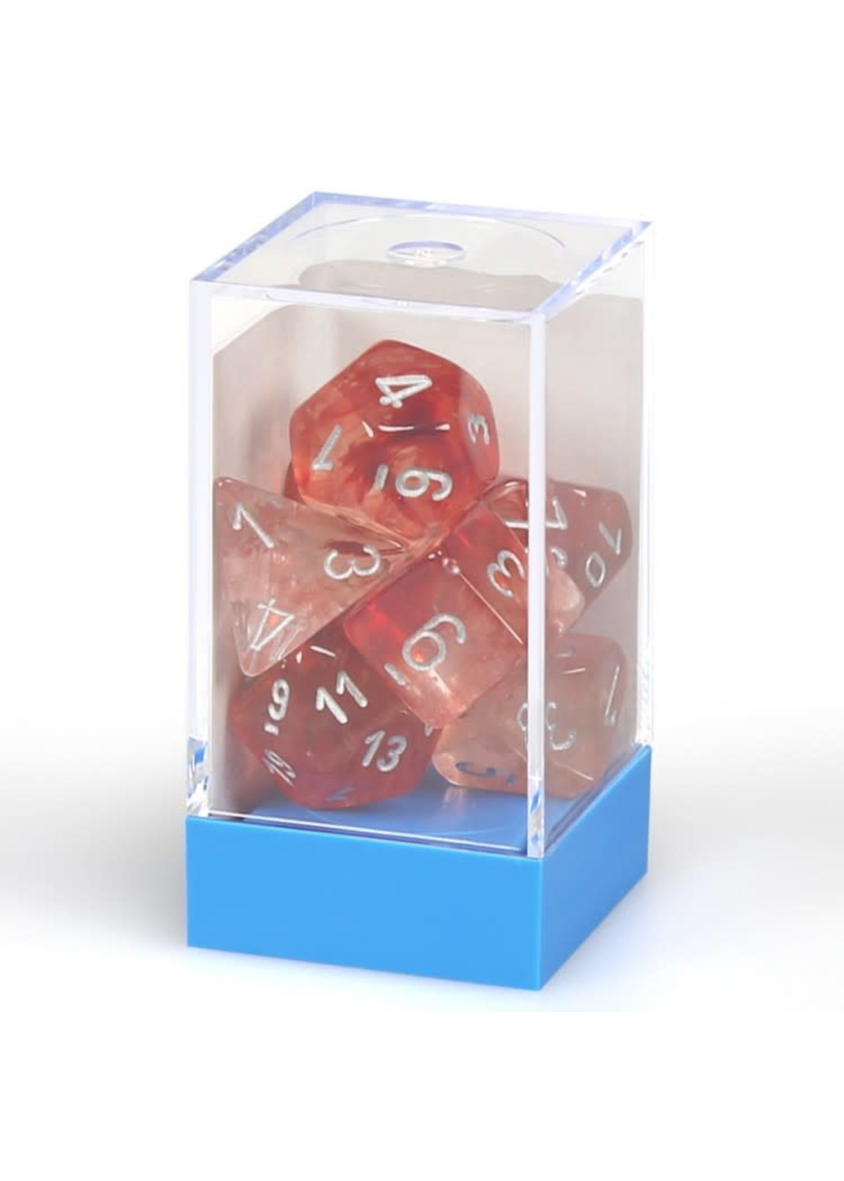Chessex Lab Dice Luminary Nebula Poly 7 set: Red w/ Silver