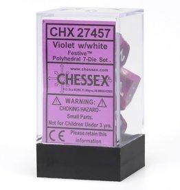 Chessex Festive Poly 7 set: Violet w/ White