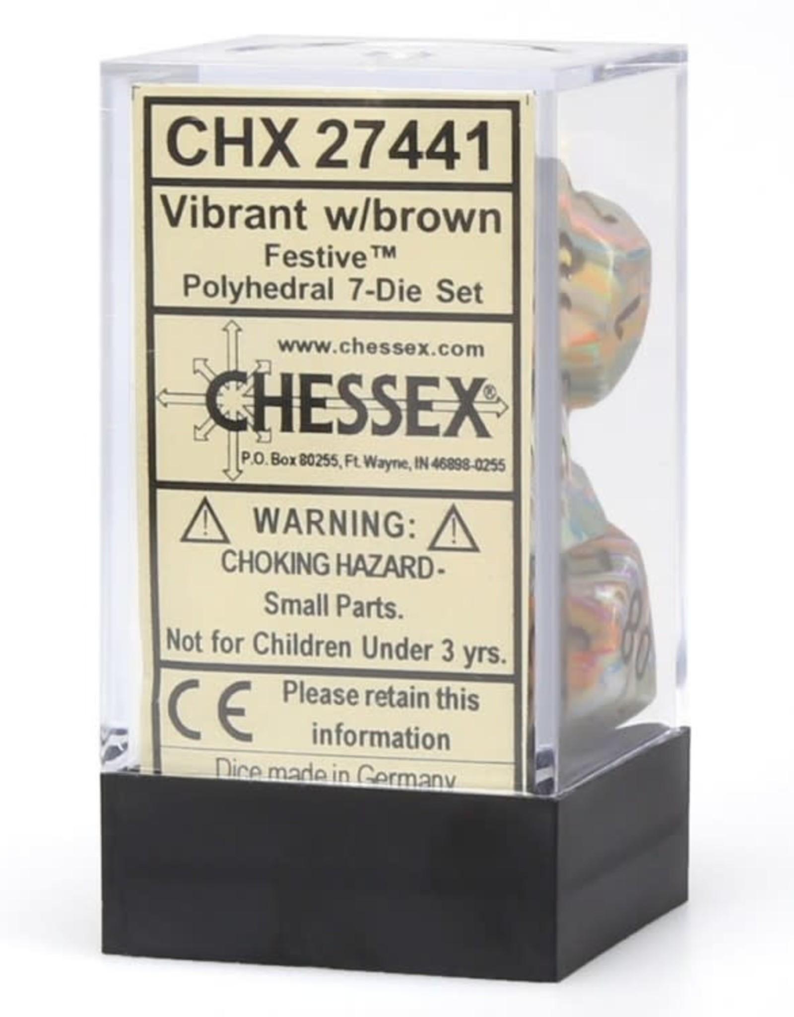 Chessex Chessex CHX27441 Dice - Festive: 7Pc Vibrant/Brown