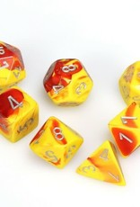 Chessex Gemini Poly 7 set: Red & Yellow w/ Silver