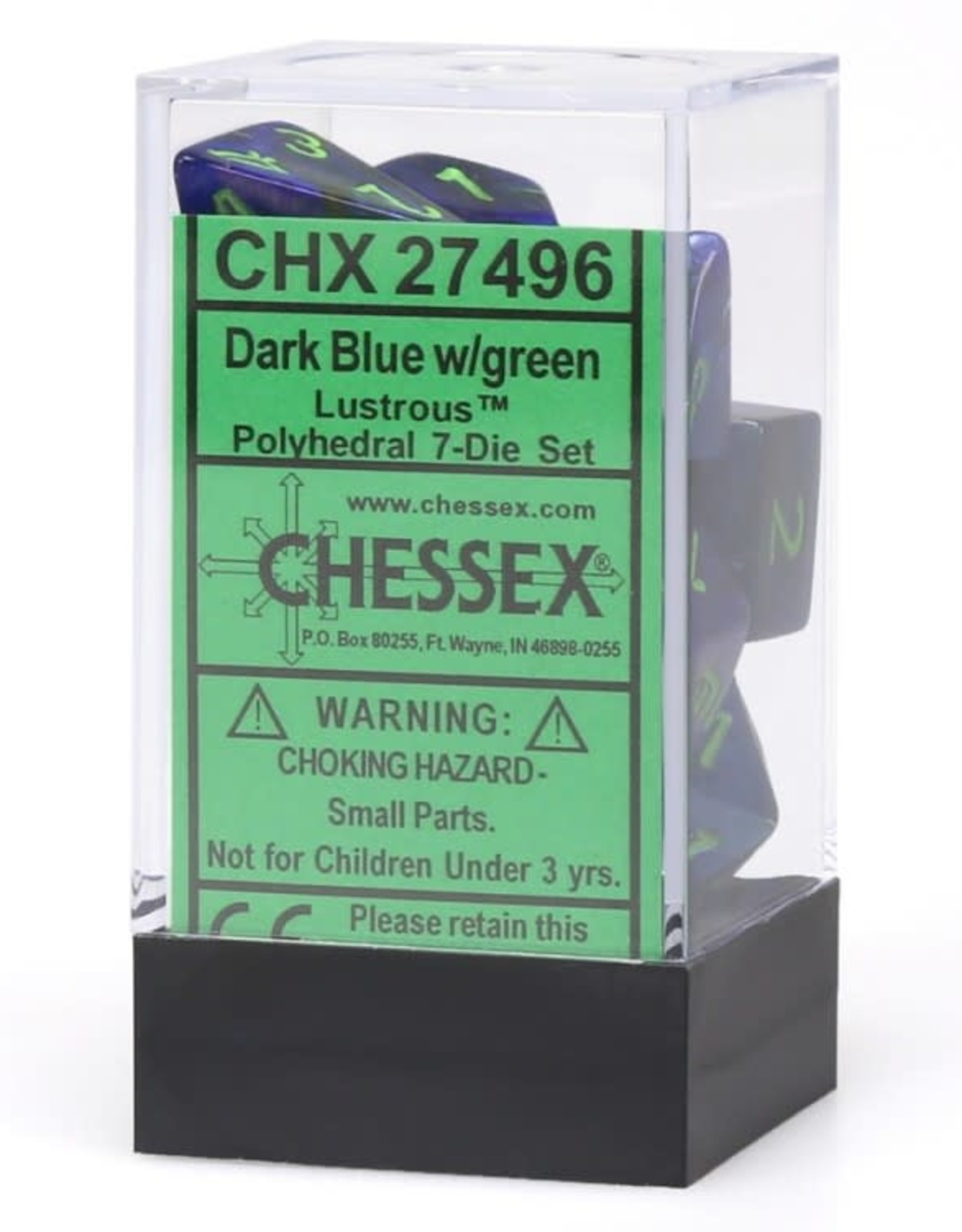 Chessex Lustrous Poly 7 set: Dark Blue w/ Green