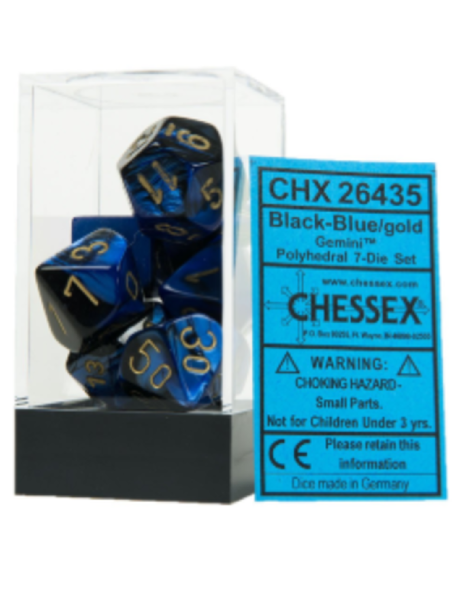 Chessex Chessex Dice FBA_26435 Polyhedral 7-Die Gemini Set - Black-Blue with Gold Chx-26435, Multicolor